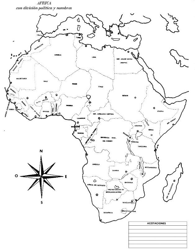 Pinto Dibujos: Mapa de África con nombres para colorear