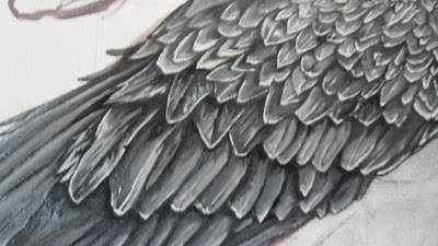 Work in Progress, Grisaille underpainting. Source shows close up of Resting white-tailed eagle wing.