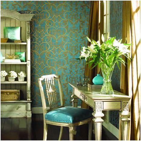 decorar con turquesa y dorado