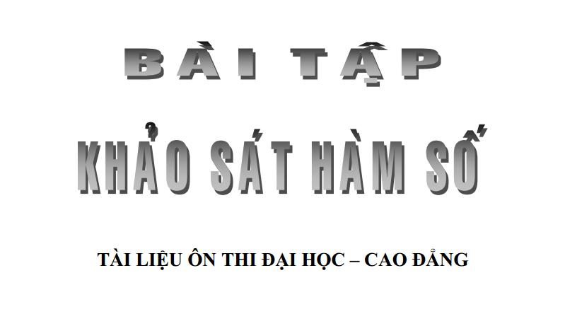 chuyen de khao sat ham so