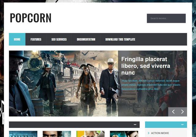 Popcorn movie blog Blogger Template Free Download