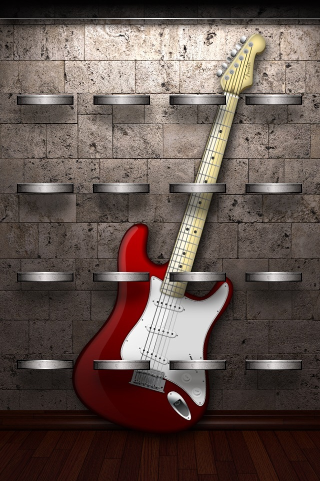 Red and White Guitars on Shelf Wallpapers For iPhone4