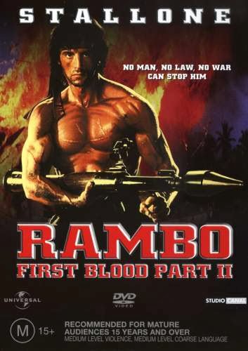 Poster Of Rambo: First Blood Part II (1985) Full Movie Hindi Dubbed Free Download Watch Online At Alldownloads4u.Com