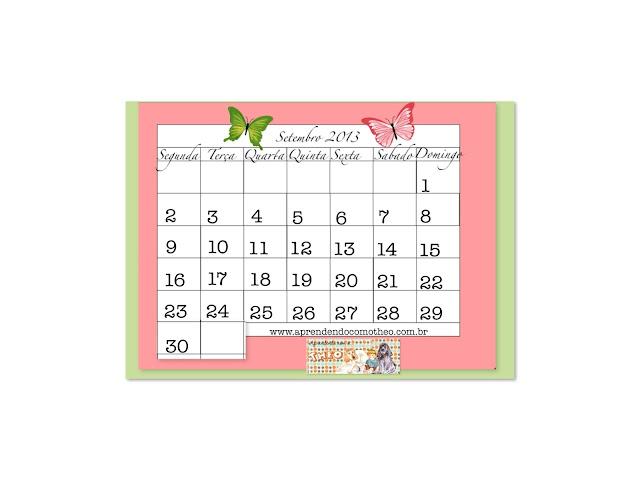 calendário para setembro