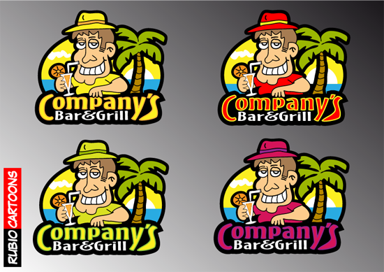 LOGO CARTOON CHARACTER FOR BAR & GRILL