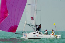 J/80 one-design sailboat- sailing with women's Chinese sailing team