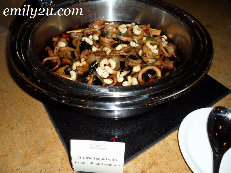 Banjaran stir fried squid with dried chili scallions