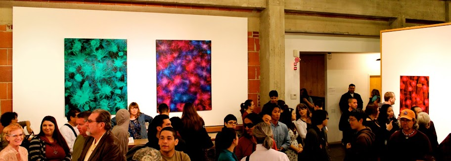 Victor Angelo Green Red Blue Violet Purple Paintings Museum Art Reception Crowd
