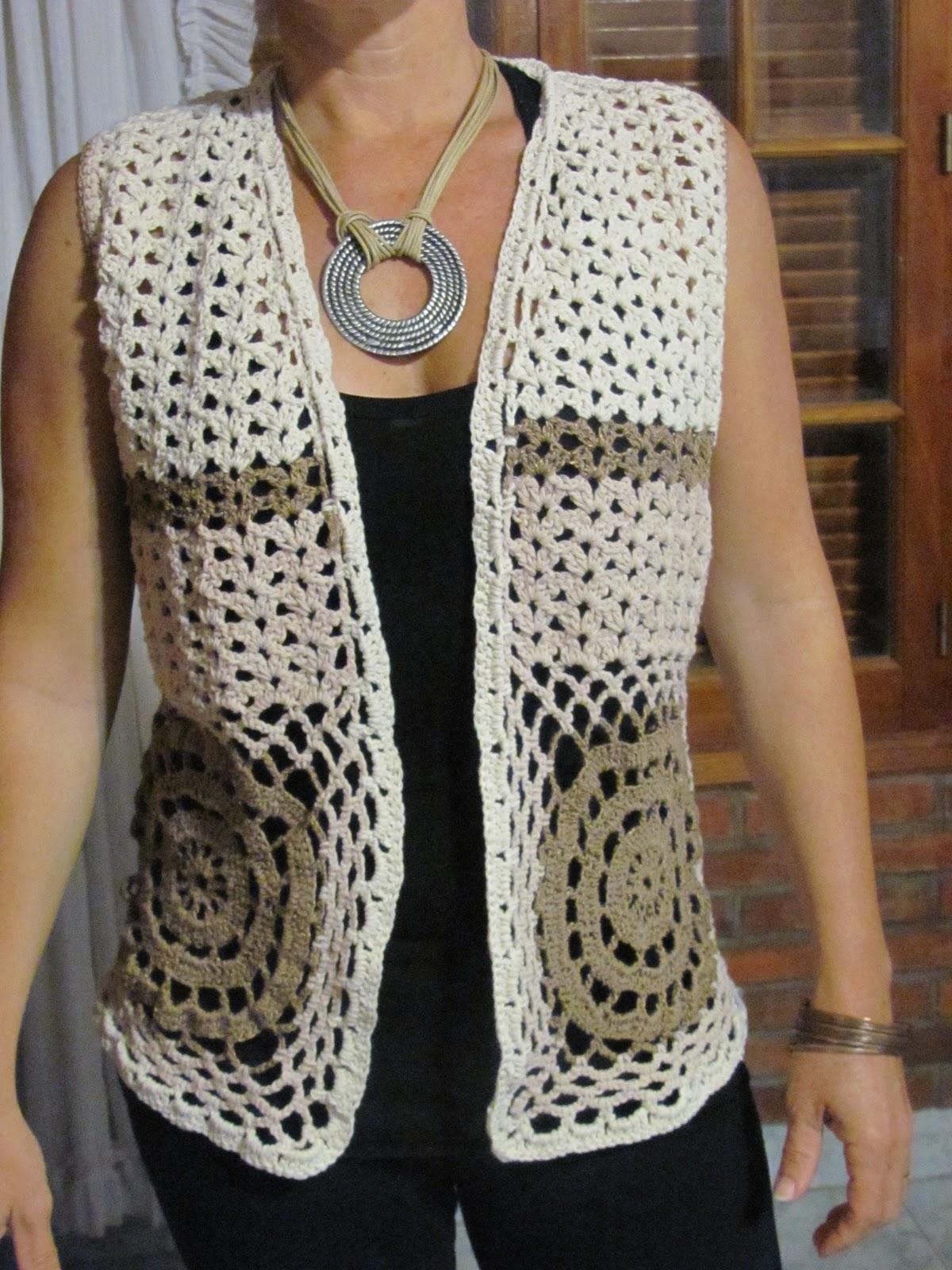 Download Tejido Al Crochet Chaleco Corto Con Cuello Hilo A Mano Al