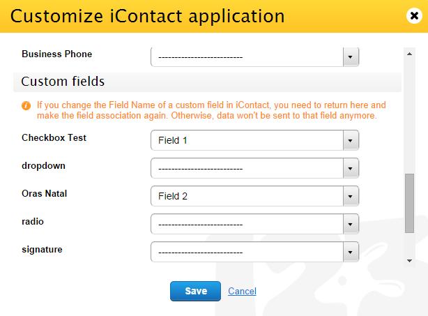 iContact custom fields integration
