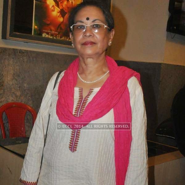 Sohag Sen during the premiere of Ranjan Ghosh's movie Hrid Majhare at Priya in Kolkata.