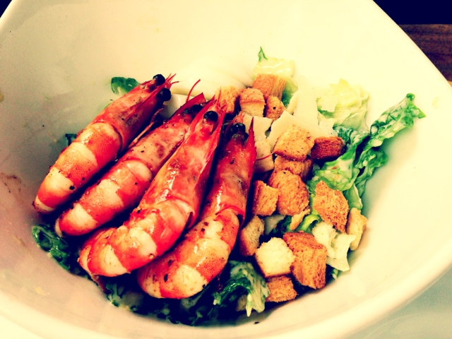 Classic Caesar Salad with Prawns