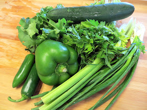 The Four Seasons Farm Gardener's Cookbook review Barbara Damrosch and Eliot Coleman gardening farming recipes local produce Green Gazpacho recipe, green pepper, celery, scallions, jalapeno, parsley, cilantro, and chives, spring soup recipe