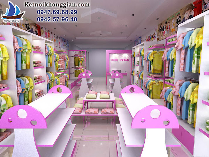 thiết kế shop thời trang trẻ em diện tích nhỏ