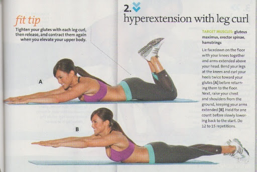 Hyperextension with leg curl