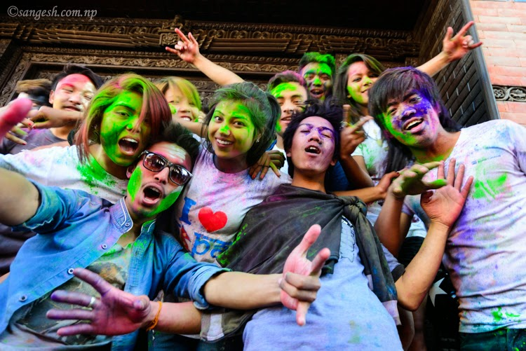 Youth enjoying the Holi festival in Kathmandu Durbar Square