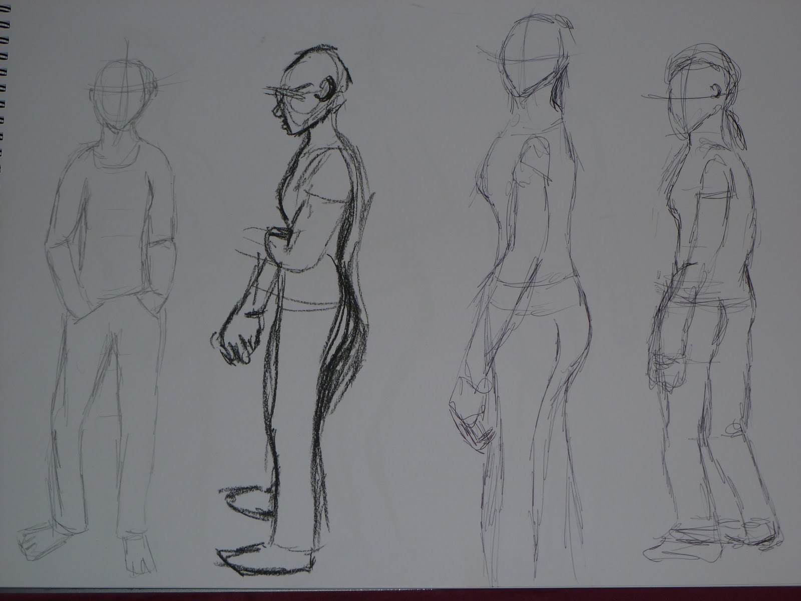 learning log  after my attempts to draw inanimate objects i have been moved onto figures these are some of my initial sketches done to test my perspective of figures