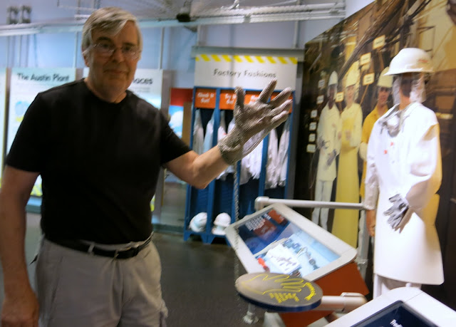 Bob Trying on the Steel Mesh Safety Gloves. Spam Museum
