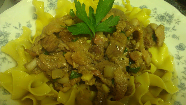 belgian beef stew egg noodles beef bacon onion garlic stew soup fall food parsley lemon juice
