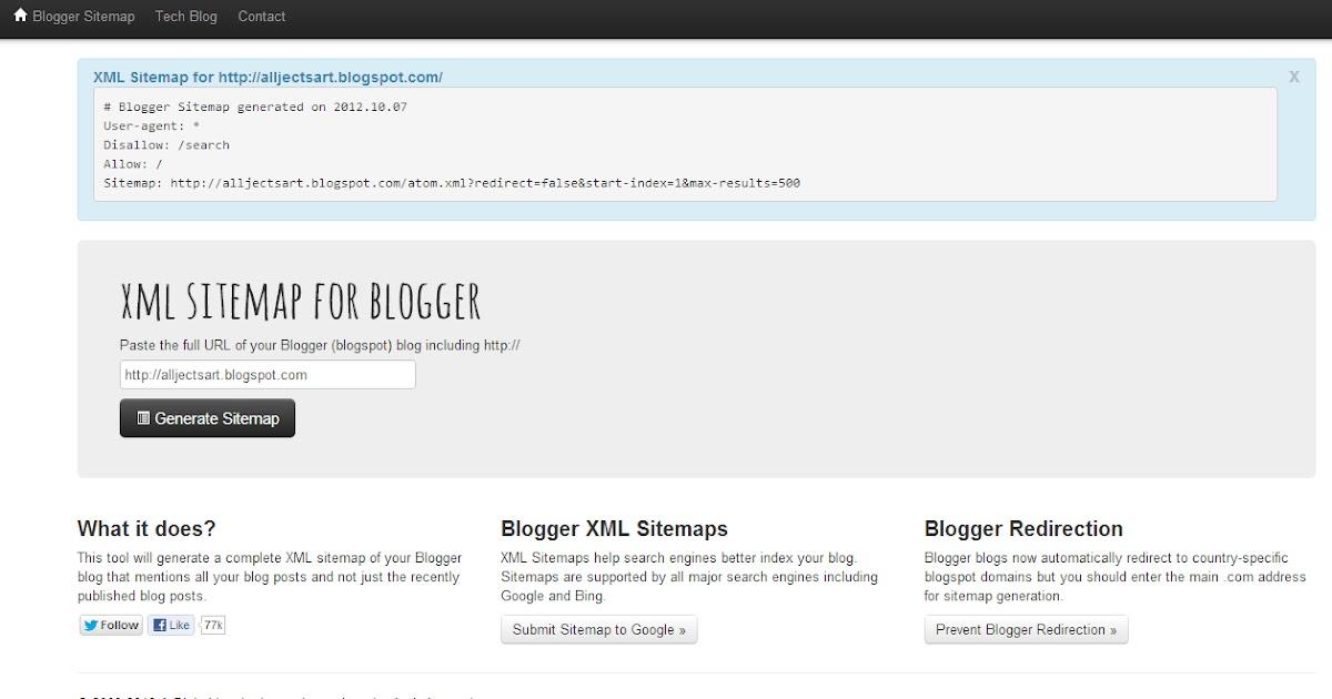 fastest steps to creat blogger xml sitemap alljectsart
