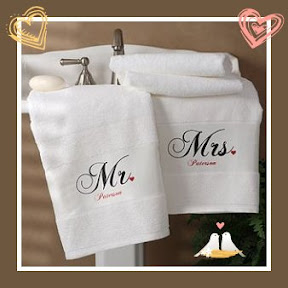 or the new Mr. and Mrs. couple, we present our Towel Set for two ...