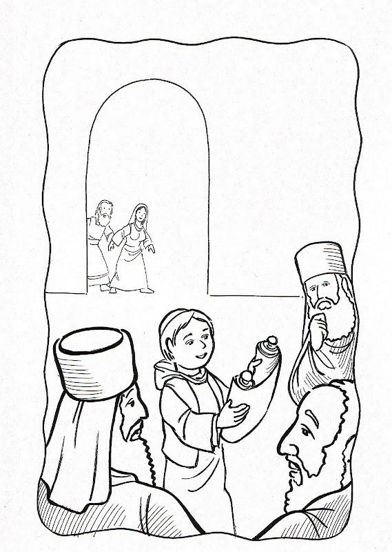 Dibujos Católicos : Niño Jesus hallado en el templo para colorear ...