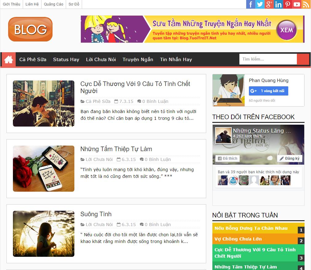 Template Blogspot làm trang blog cá nhân