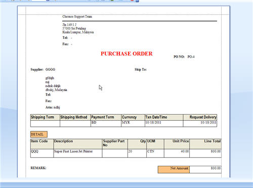 Purchase Order Document