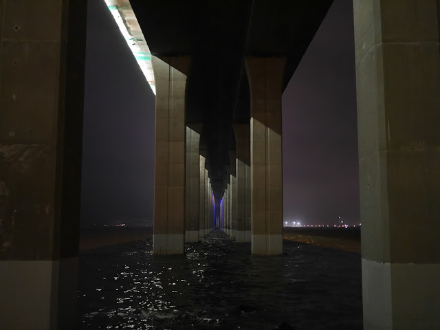 A view over the water at night underneath the Zhanjiang Bay Bridge.