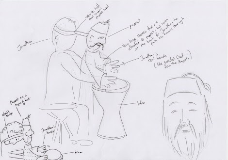 Initial sketch of Abdul the drummer