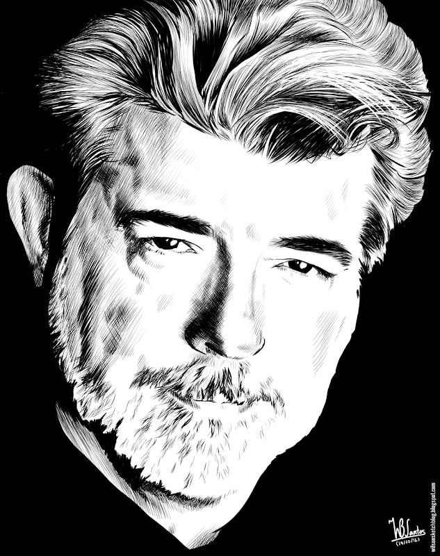 Ink drawing of George Lucas, using Krita 2.4.