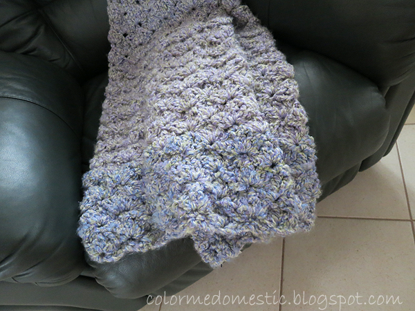 crochet cluster shell afghan with loops and threads country loom yarn in lavender blues