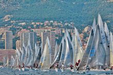 J/24s starting off Monte Carlo, Monaco in Europeans