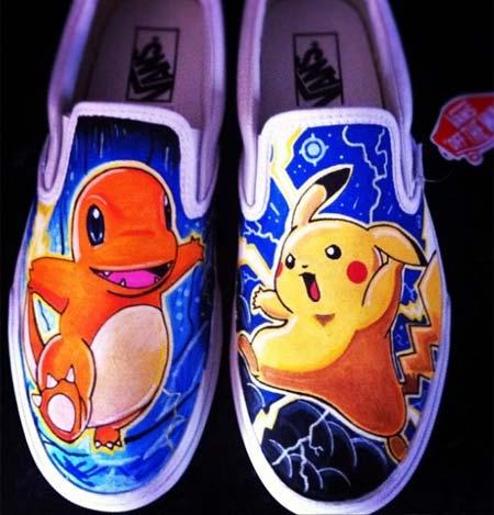 Tênis Vans customizados com personagens de desenhos animados - Pokemon