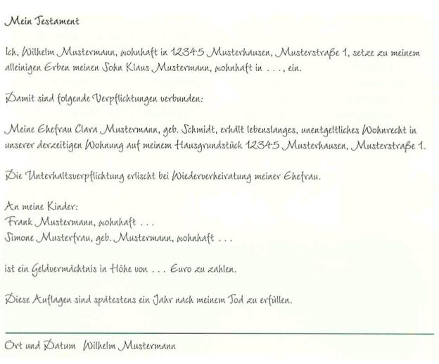 2247 bgb - Ehegattentestament Muster