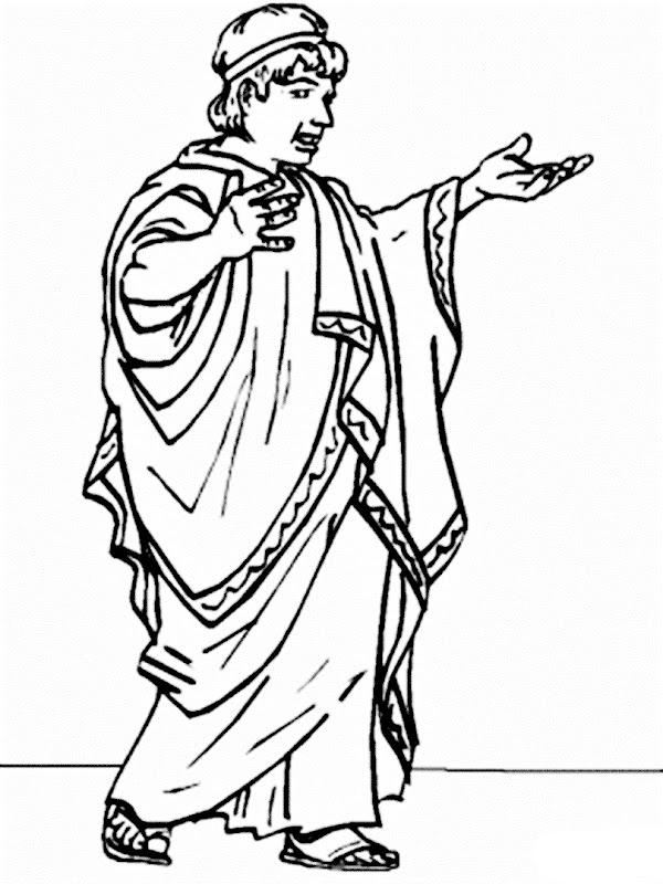 Senador romano con túnica para colorear