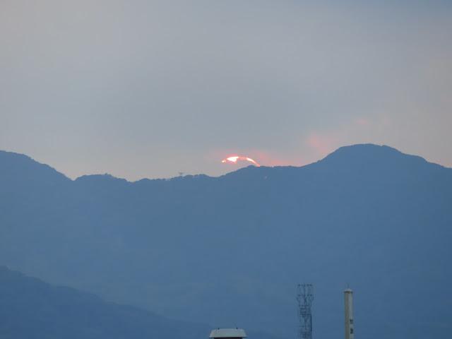 曽根干潟の夕日-3