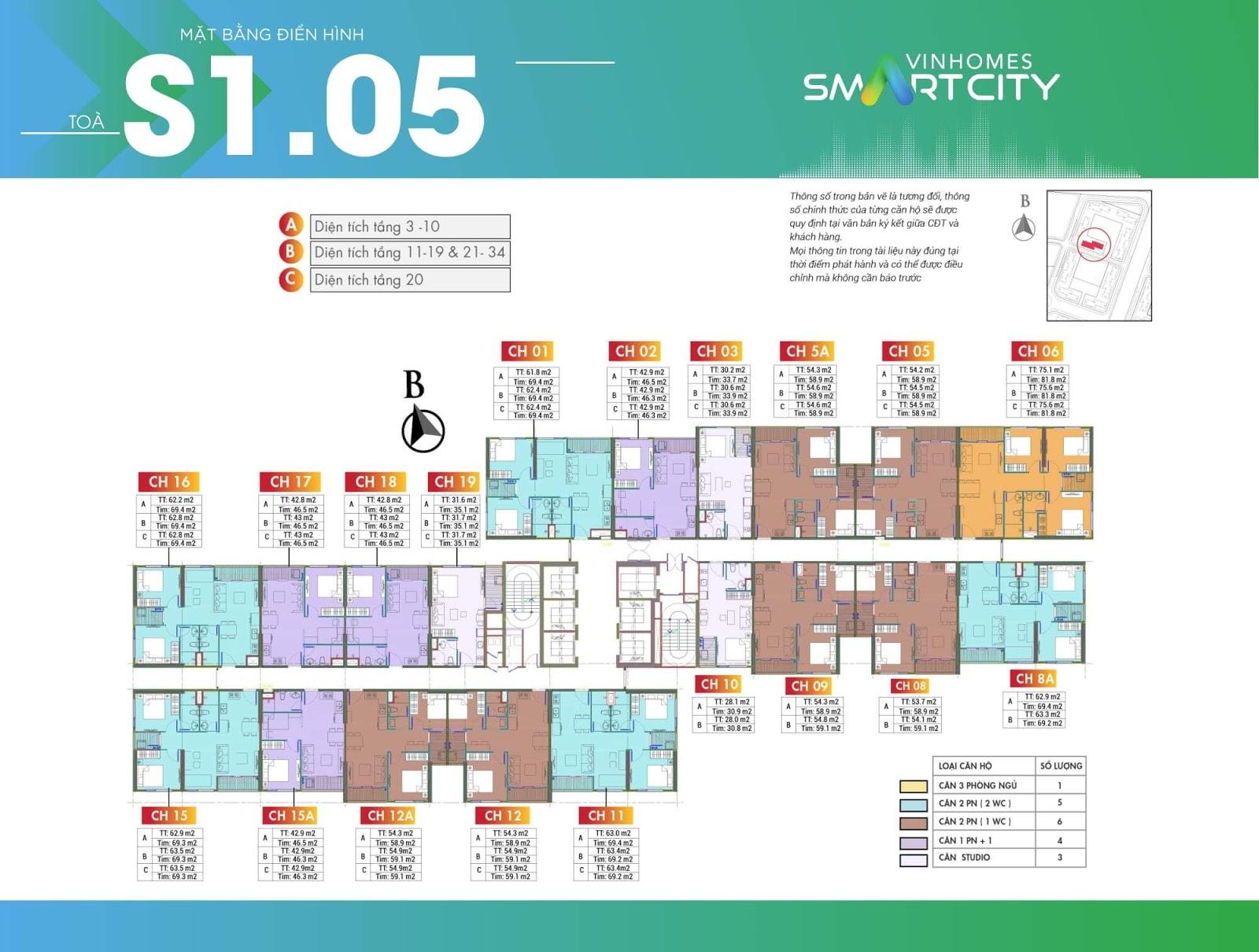 Mặt bằng toà S1-05 chung cư Vinhomes Smart City