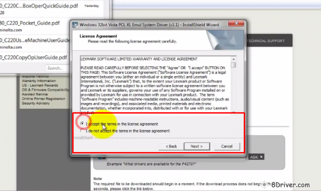 Accept the terms in the License Agreement of Lexmark Prestige Pro805 drivers