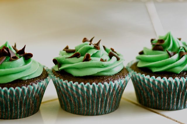 Mint Chip Cupcakes %The Baker Chick