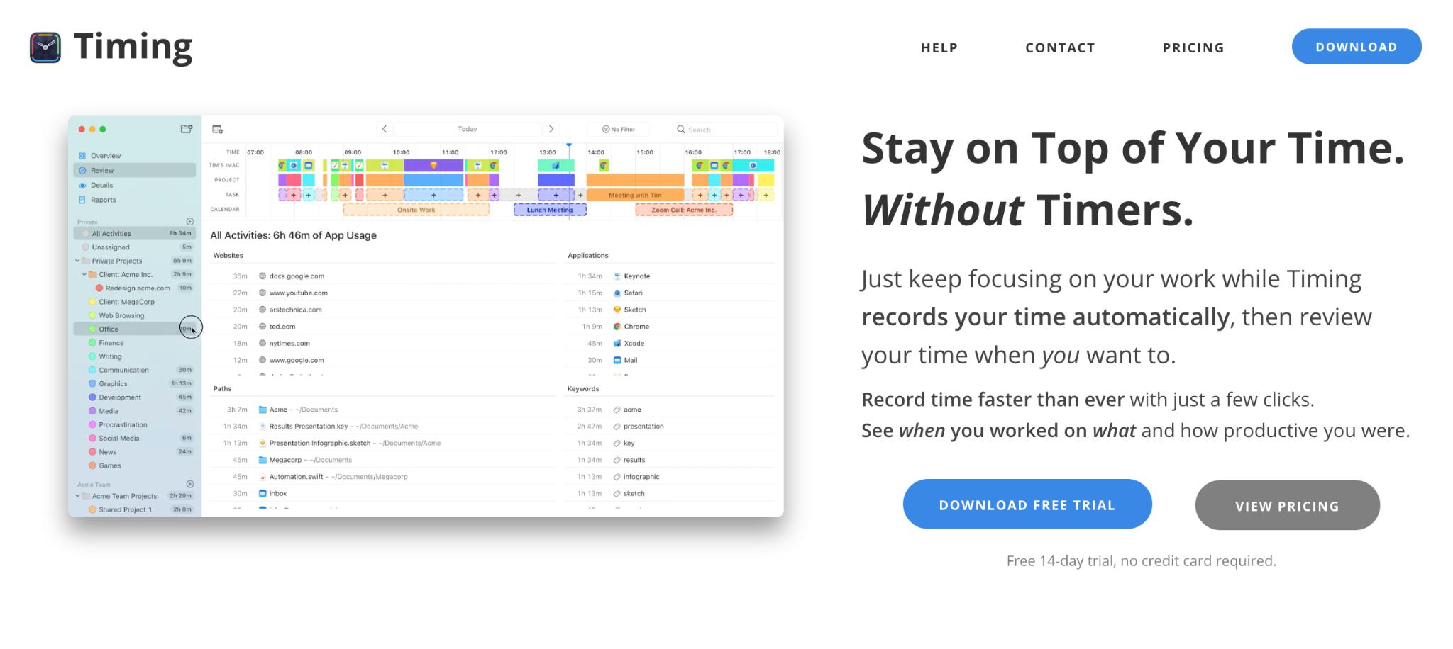 Timing tool webpage screenshot