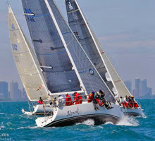 J/109 one-design fleet sailing off Chicago at Sailing World NOOD Regatta
