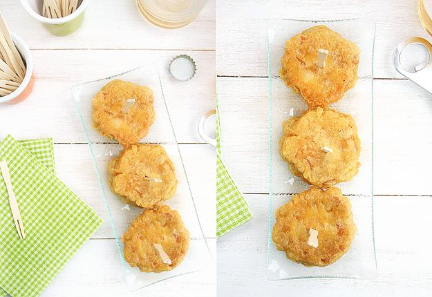 Milhojas de calabacin y queso en tempura