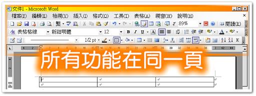 Office 2003 所有功能都在同一頁面