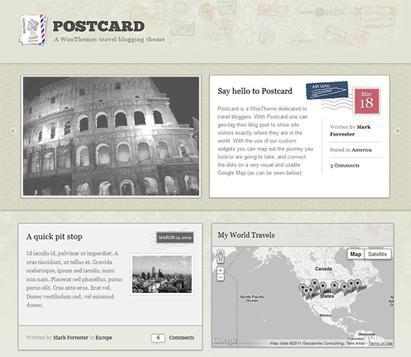 Postcard Vintage WordPress Theme