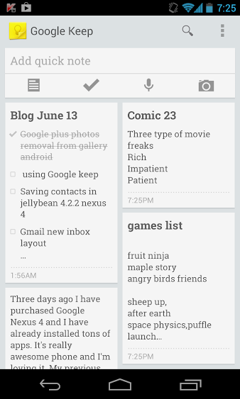 Using Google Keep On Nexus 4