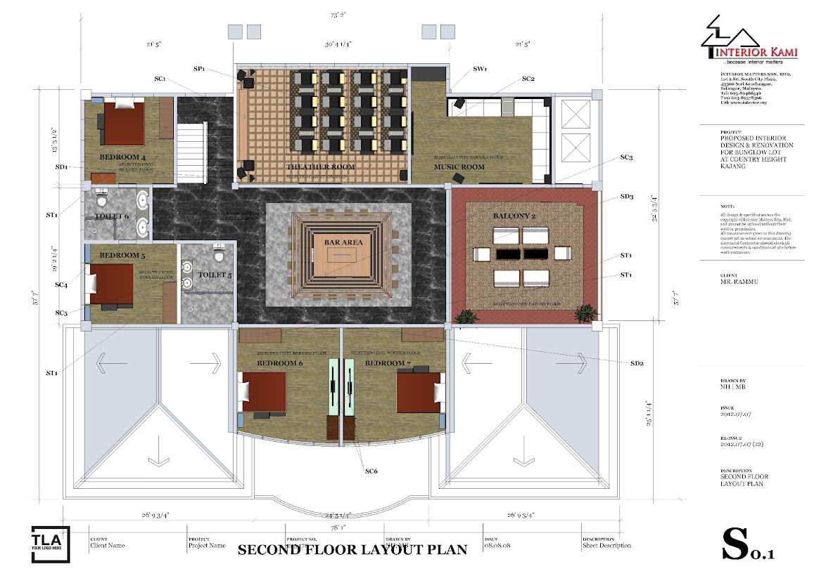 2nd floor color layout plan for country height bunglow