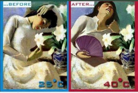 ảnh chế cô gái trong tranh chịu không nổi với cái nóng của mùa hè
