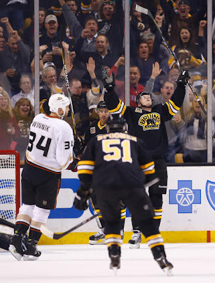 Carl Soderberg celebrates his 1st NHL goal