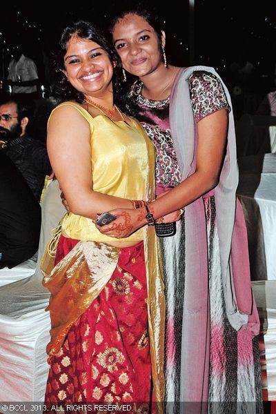 Sneha and Anjana look pretty during the wedding reception of Singer Ranjini Jose and Ram Nair, held in Kochi.